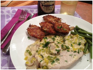pork and creamy leek sauce
