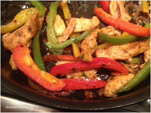 fry chicken and peppers