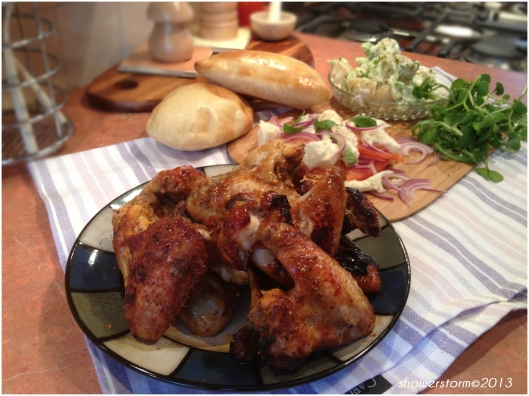 chicken wings and salad