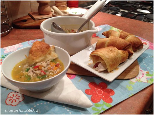 chix broth with croissant