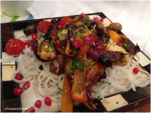 noodles and roast veg