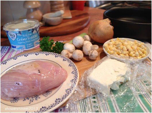 turkey feta bake prep