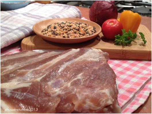 lentil and bacon soup prep
