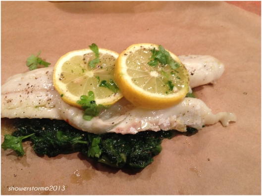 seabass on spinach