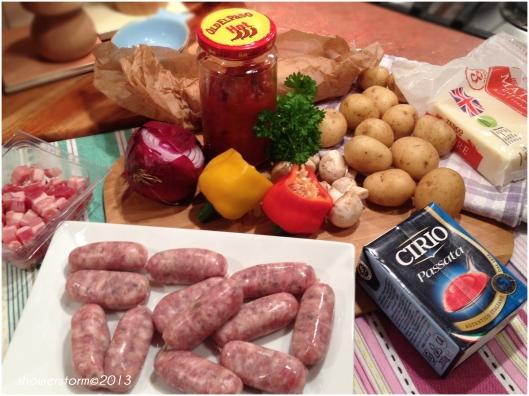 sausage casserole prep