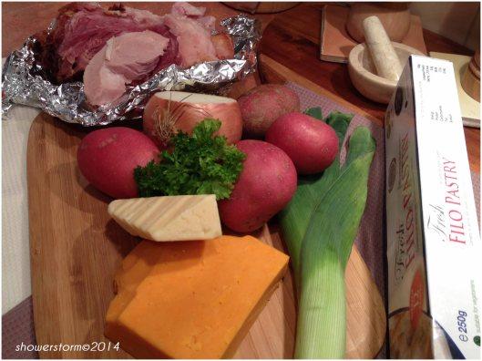 cheese ham bake prep