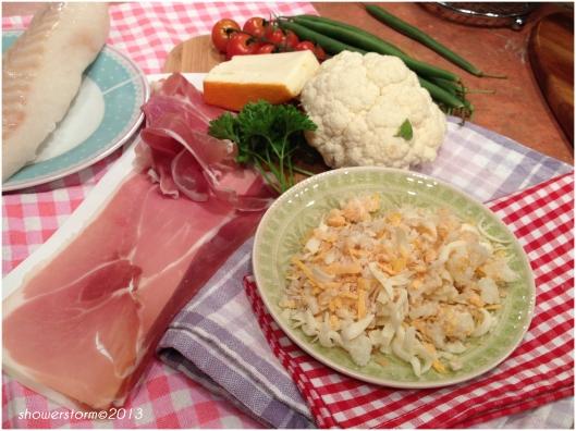 cod and prosciutto prep