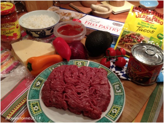 taco chilli filo bake prep