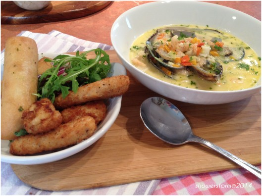 soup and scampi